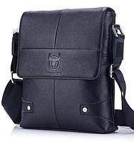 Мужская кожаная сумка на плечо BullCaptain черная 075, фото 1