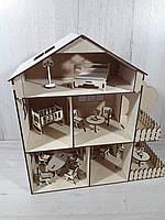 Домик кукольный с мебелью