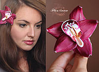 """Заколка цветок """"Малиновая орхидея"""", фото 1"""