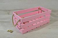 Ящик деревянный крашеный розового цвета