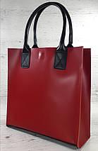 275-к Натуральная кожа, Сумка-пакет с мешком на молнии, красная Кожаная Сумка-шоппер красная кожаная черная, фото 2