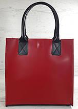 275-к Натуральная кожа, Сумка-пакет с мешком на молнии, красная Кожаная Сумка-шоппер красная кожаная черная, фото 3