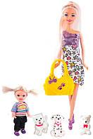 Кукла Ася с дочкой и 3 щенками, Семейная прогулка, Ася