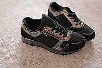 Женские кроссовки черного цвета замшевые камуфляжный рисунок серебристые вставки 36-38
