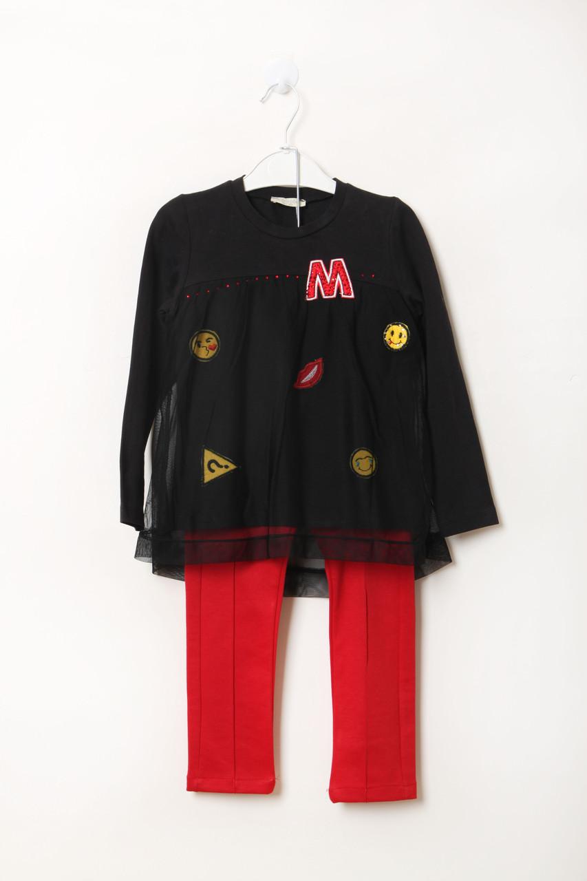 Костюм (кофта, штаны) miss rose 116 cm (VY-0081_Black-Red)