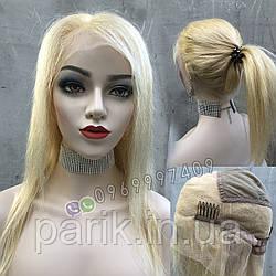 Парик блонд на полной сетке, женский из натуральных волос по плечи