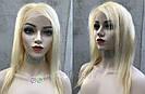 Парик блонд на полной сетке, женский из натуральных волос по плечи, фото 2