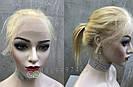 Парик блонд на полной сетке, женский из натуральных волос по плечи, фото 3