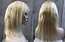 Парик блонд на полной сетке, женский из натуральных волос по плечи, фото 5
