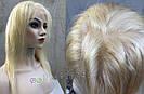 Парик блонд на полной сетке, женский из натуральных волос по плечи, фото 4
