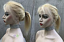 Парик блонд на полной сетке, женский из натуральных волос по плечи, фото 6