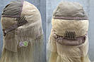 Парик блонд на полной сетке, женский из натуральных волос по плечи, фото 7