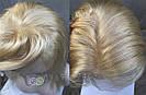 Парик блонд на полной сетке, женский из натуральных волос по плечи, фото 8