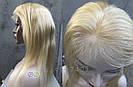 Парик блонд на полной сетке, женский из натуральных волос по плечи, фото 10
