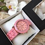 Женские наручные часы на силиконовом ремешке Geneva розовые, фото 3