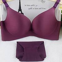 Женское нижнее белье бесшовное набор, чашка  75 В, тёмно-фиолетовый