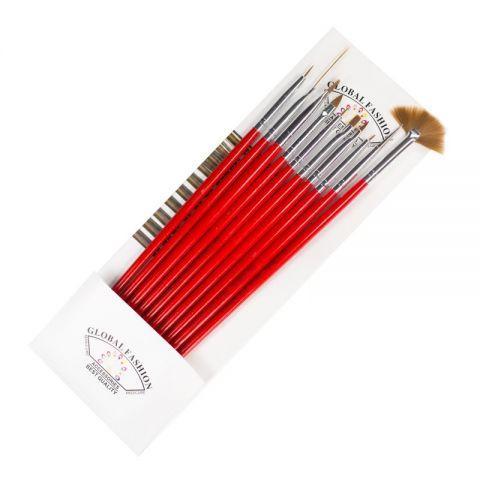 Кисточки Global Fashion B-3 красные 10ш M32 M12 M22