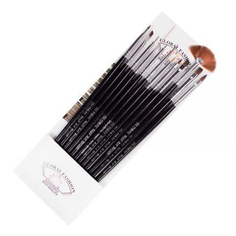 Пензлики для гелю Global Fashion B-2 чорні 12шт M32