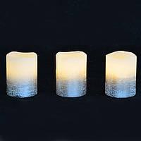 Набір свічок воскових , LED на батарейках . 3шт., 5 * 6.5, срібло,. YES! Fun
