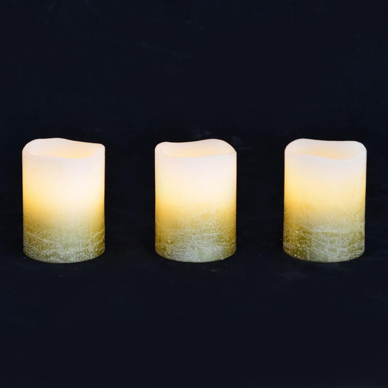 Набір свічок воскових , LED 3шт., 5 * 6.5, золото ,. YES! Fun