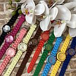 Женские наручные часы на силиконовом ремешке Geneva розовые, фото 6