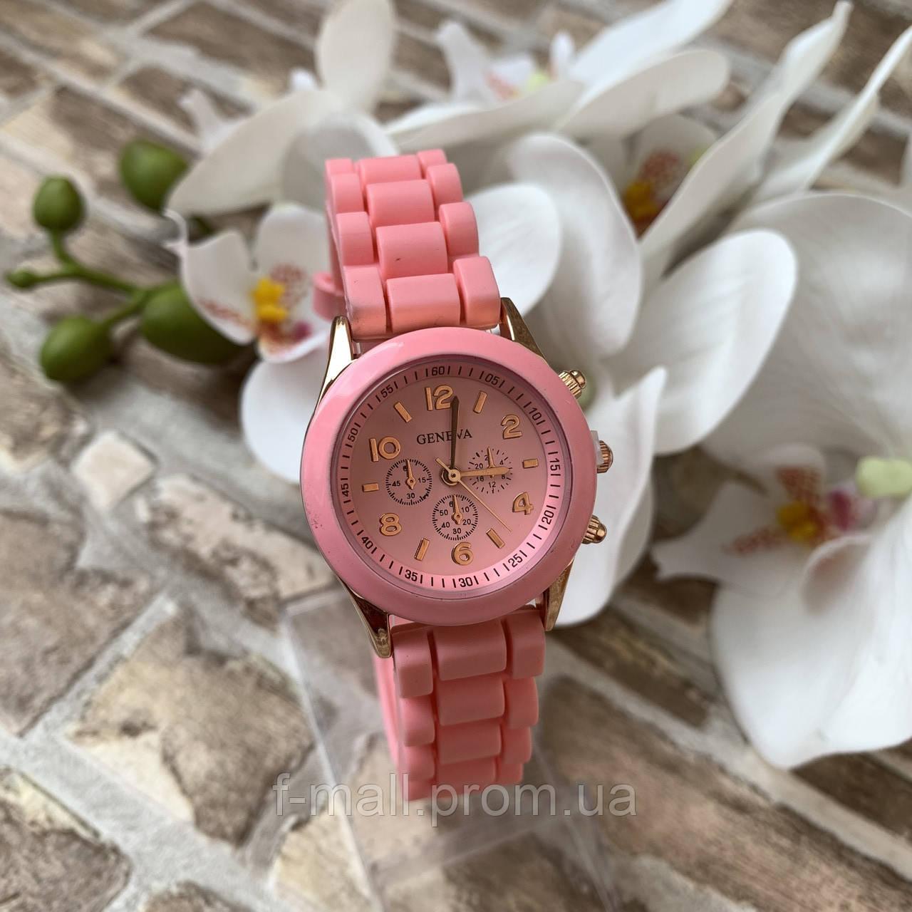 Женские наручные часы на силиконовом ремешке Geneva розовые