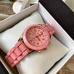 Женские наручные часы на силиконовом ремешке Geneva розовые, фото 2