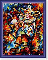 """Репродукция  современной картины """"Клоун-трубач"""" 28 х 35 см"""
