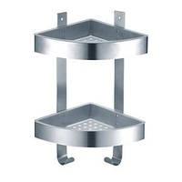 Двойная, угловая полочка-сетка с крючками для ванной комнаты 29599 из нержавеющей стали ТМ Trento ANGOLARE