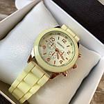 Женские наручные часы на силиконовом ремешке Geneva светло желтые, фото 2