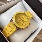 Женские наручные часы на силиконовом ремешке Geneva желтые, фото 2