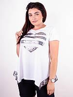 Арнея. Нарядная футболка больших размеров. Серебро, фото 1