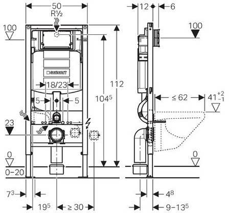 """Duofix Монтажный элемент для подвесного унитаза, H112, cо встроенным бачком """"Sigma"""" 12см, для смывных клавиш """"Sigma"""", фото 2"""