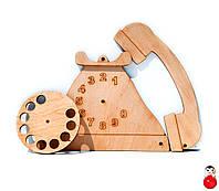 Заготовка Деревянный ТЕЛЕФОН для бизиборда с диском дисковый Дерев'яний для бізіборда для бизи борда 011191