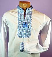 """Мужская сорочка вышиванка белая """"синяя волна"""""""