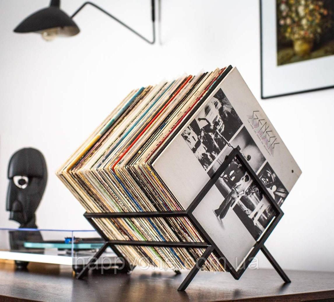Металлическая стойка для хранения пластинок или книг (чёрная)