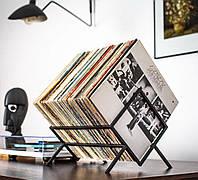 Металлическая стойка для хранения пластинок или книг (чёрная), фото 1