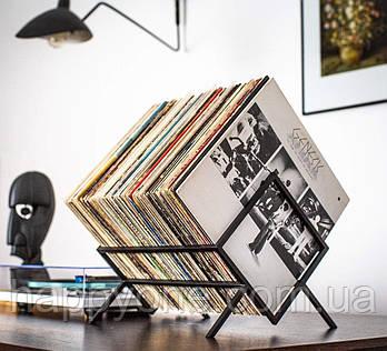 Металева стійка для зберігання пластинок або книг (чорна)