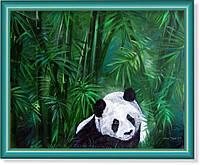 """Репродукция  современной картины """"Панда в зарослях бамбука"""""""