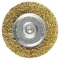 Щетка для дрели 100 мм, плоская со шпилькой, латунированная витая проволока // MATRIX