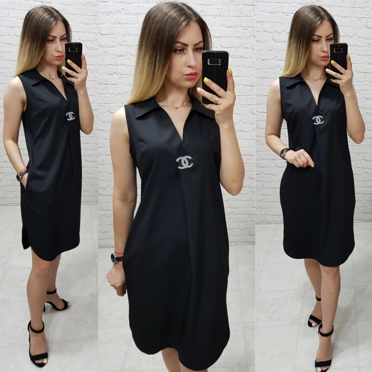 Платье / сарафан с брошью и карманами, арт 167,  цвет чёрный