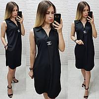 Платье / сарафан с брошью и карманами, арт 167,  цвет чёрный, фото 1