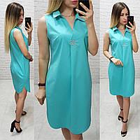 Платье / сарафан с брошью и карманами, арт 167,  цвет бирюзовый