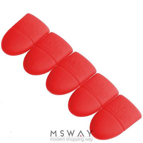 Аксессуар для снятия гель-лака колпачки-пальчики 5шт красные, фото 2