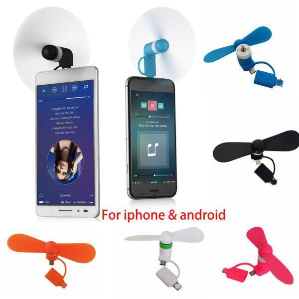 Міні вентилятор для телефону micro USB / Lightning