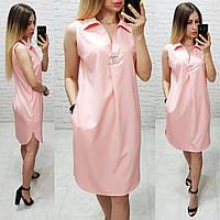 Платье / сарафан с брошью и карманами, арт 167, цвет пудра, фото 1