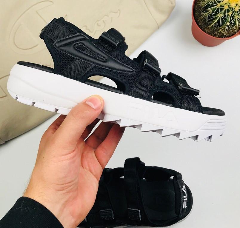 Мужские и женские сандалии Fila Sandals black/white. Живое фото. Топ качество! (Реплика ААА+)