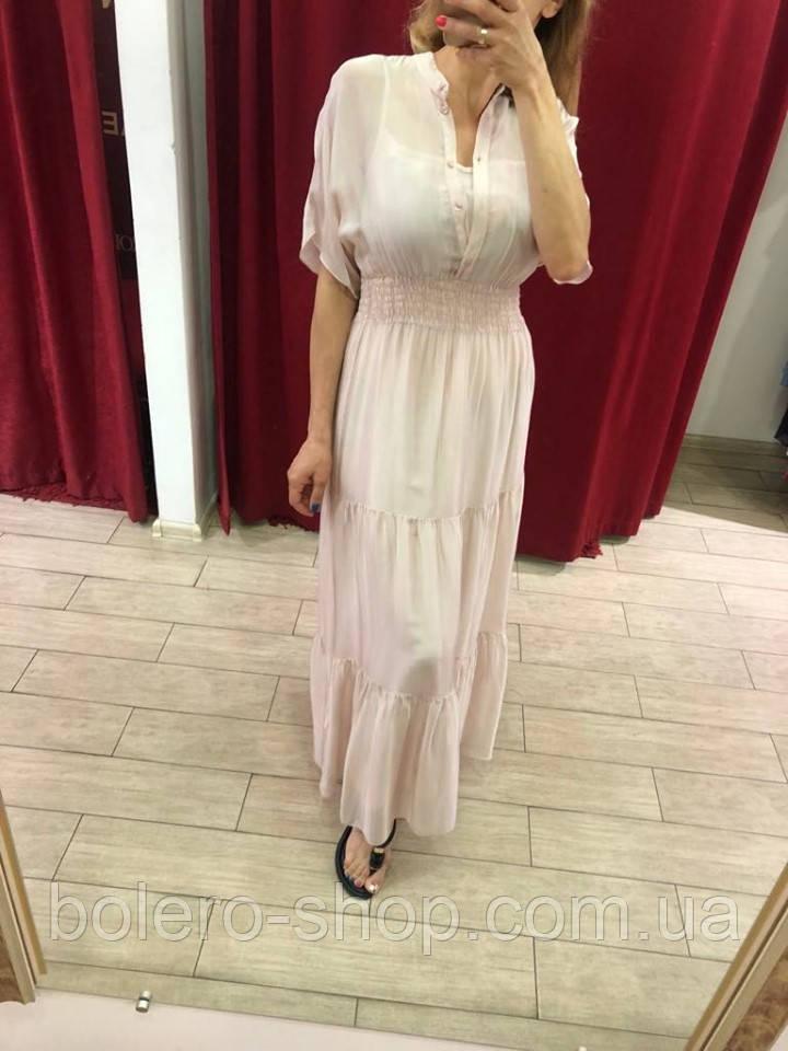 Женское платье Италия нежно-розовое макси