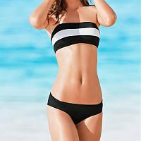 Симпатичный купальник, бикини бело-черные полоски размер в наличии S