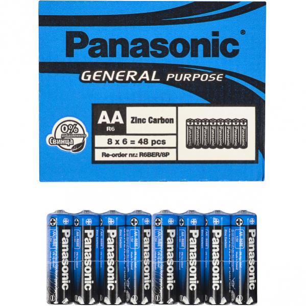 Батарейка Panasonic R6(AA) 1.5V блистер - 8шт. упаковка - 48шт.